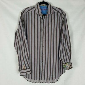 Robert Graham Contrast Flip Cuff Striped Shirt